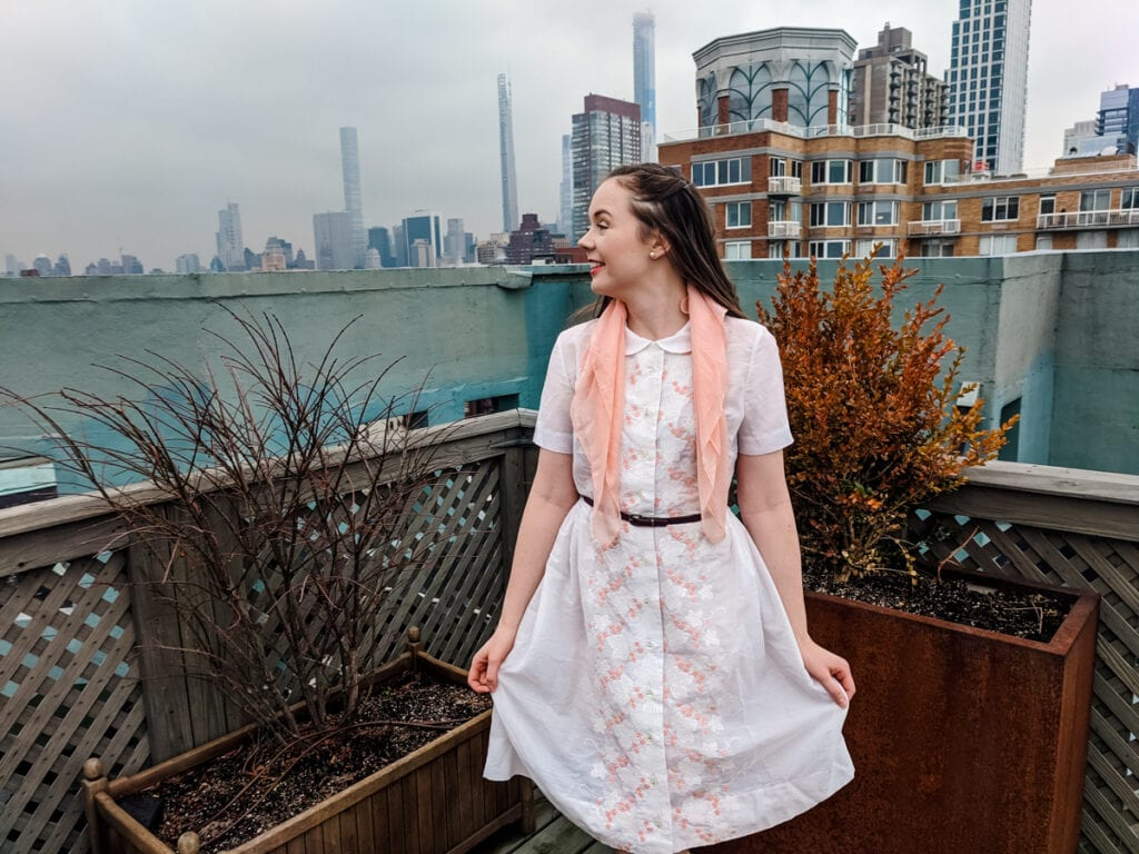 Woman in spring vintage clothing