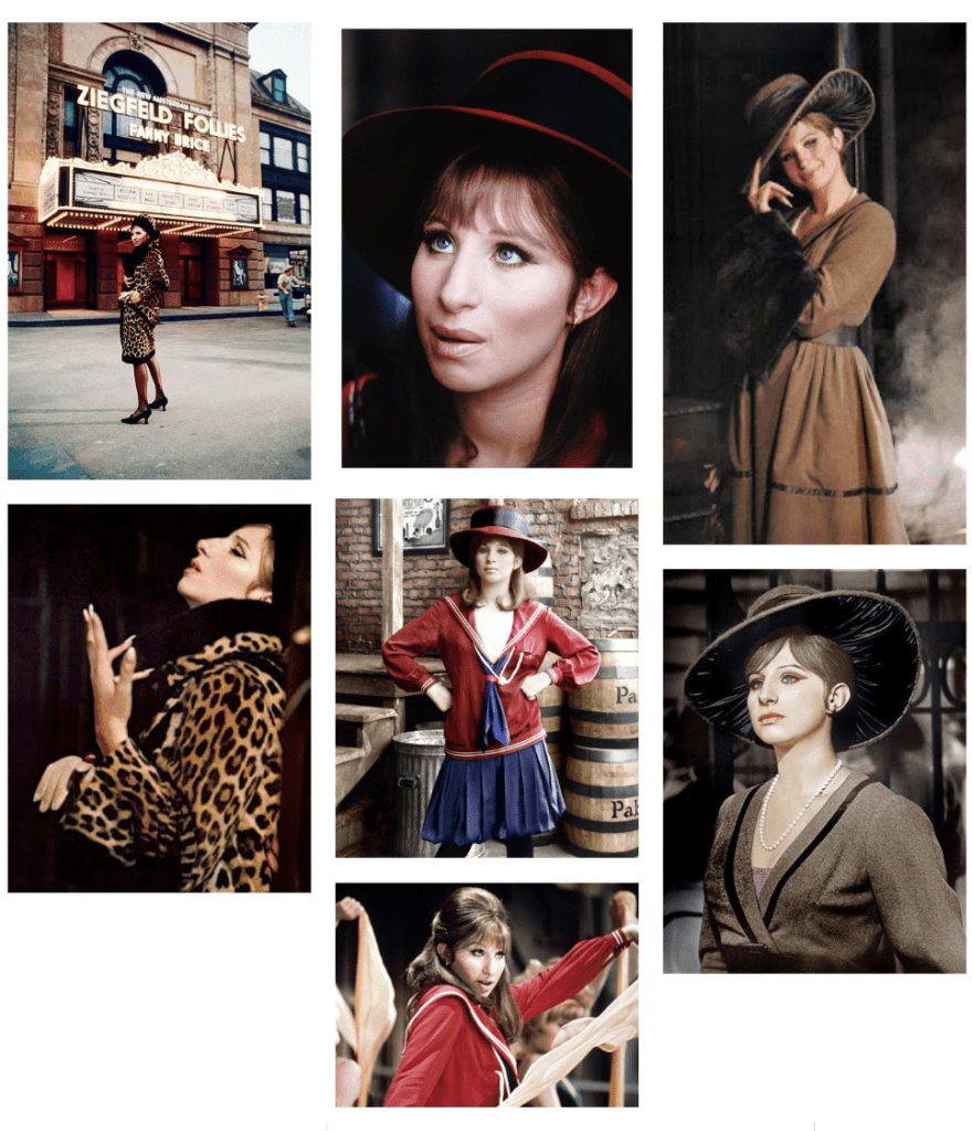 Vintage Inspired Style mood board with images from the movie Funny Girl