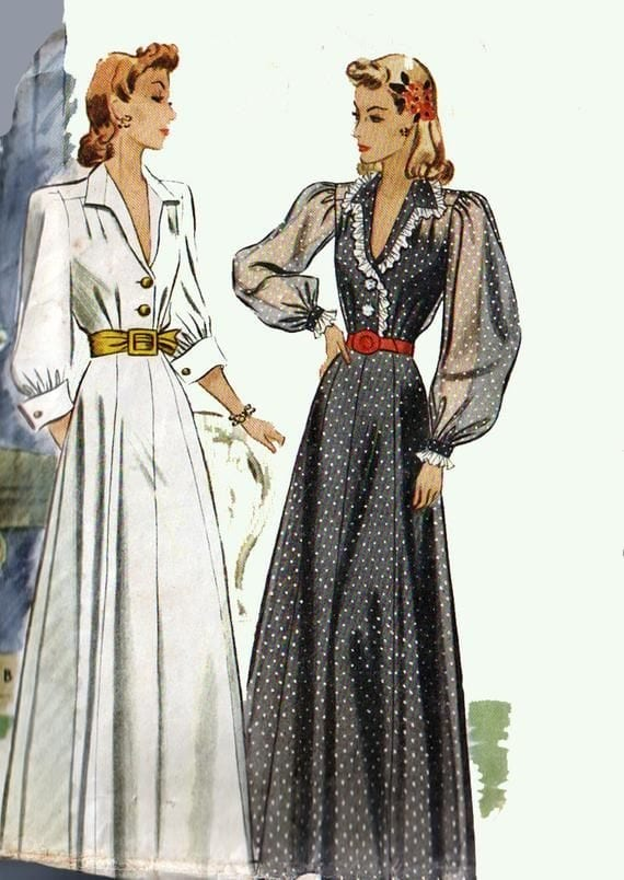 Drawing from a Glamorous 1940s sewing pattern