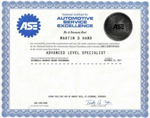 L1 Advanced Level Specialists ASE Certification