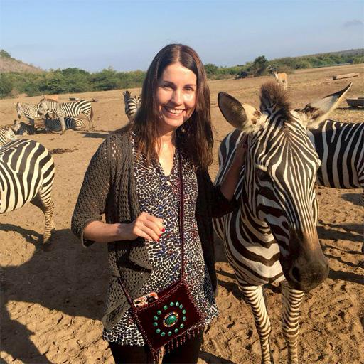 Maureen with zebras