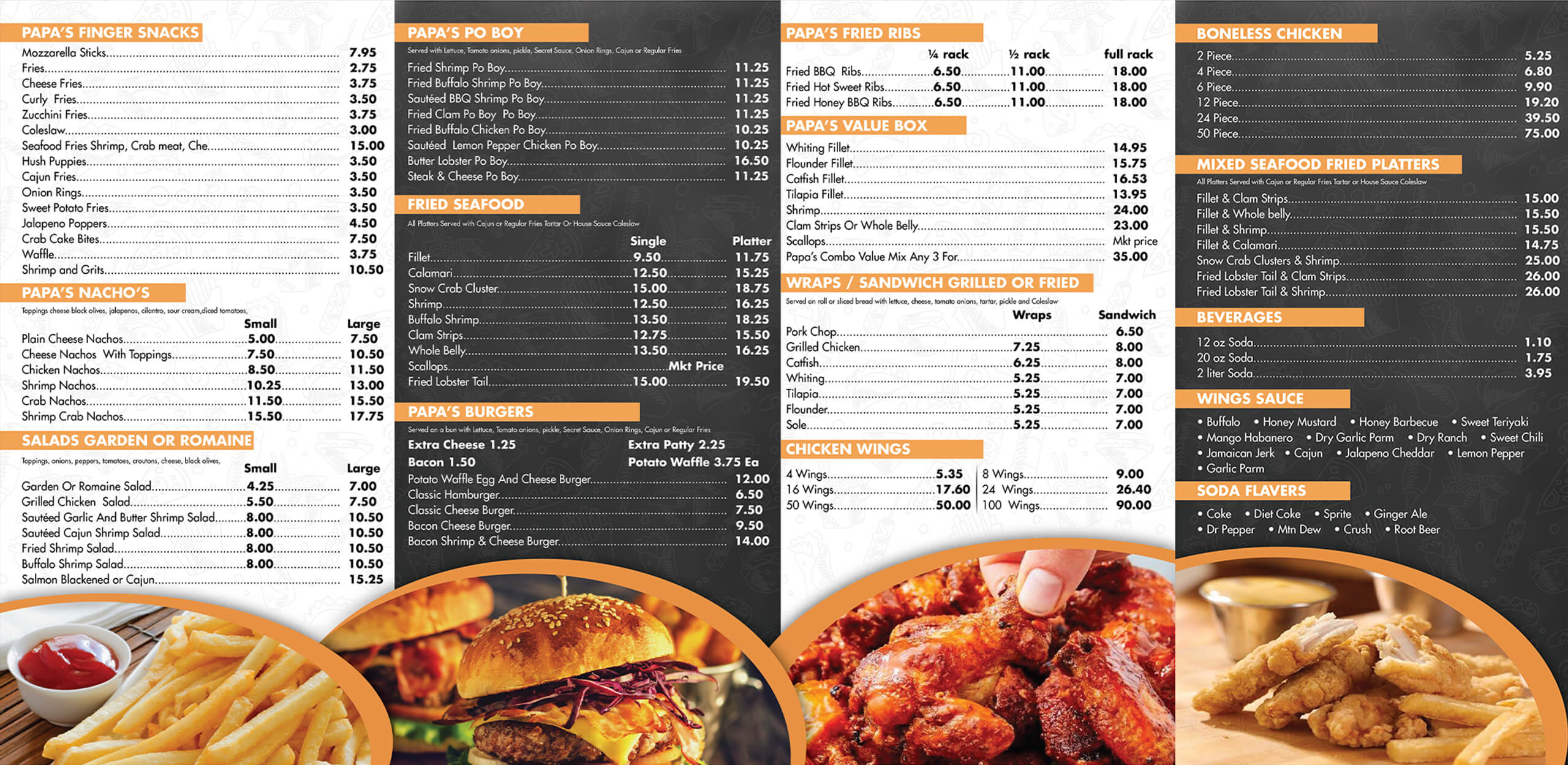 Papa Wings Seafood Menu