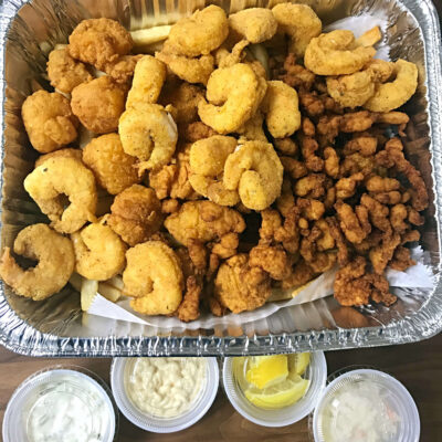 Papa's Value Combo Mix Pick 3 Catfish, Shrimp, Calamari, Whole Belly Clams, Clam Strips or Flounder comes with Fries