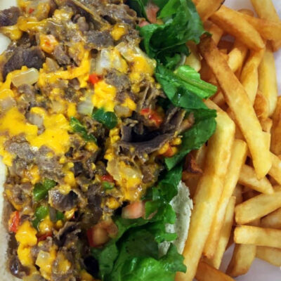 Steak and Cheese Po'boy with Fries
