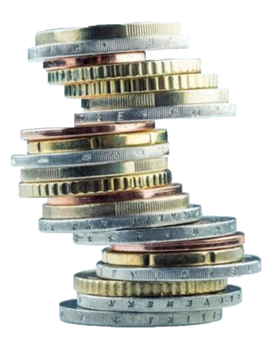 Mixture of stacked coins.