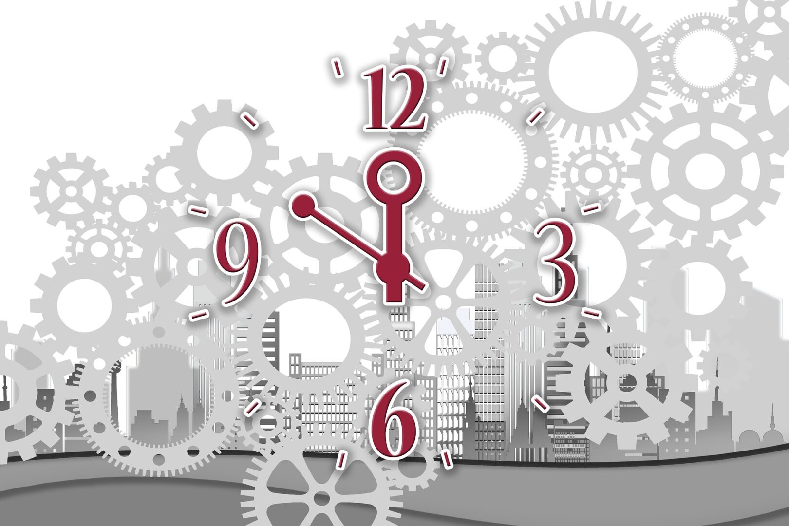 Gears and a clock