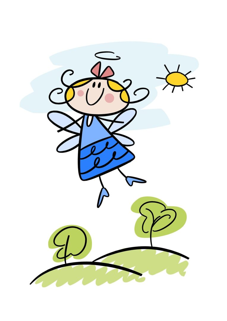 Cartoon young angel with wings floating to the sky