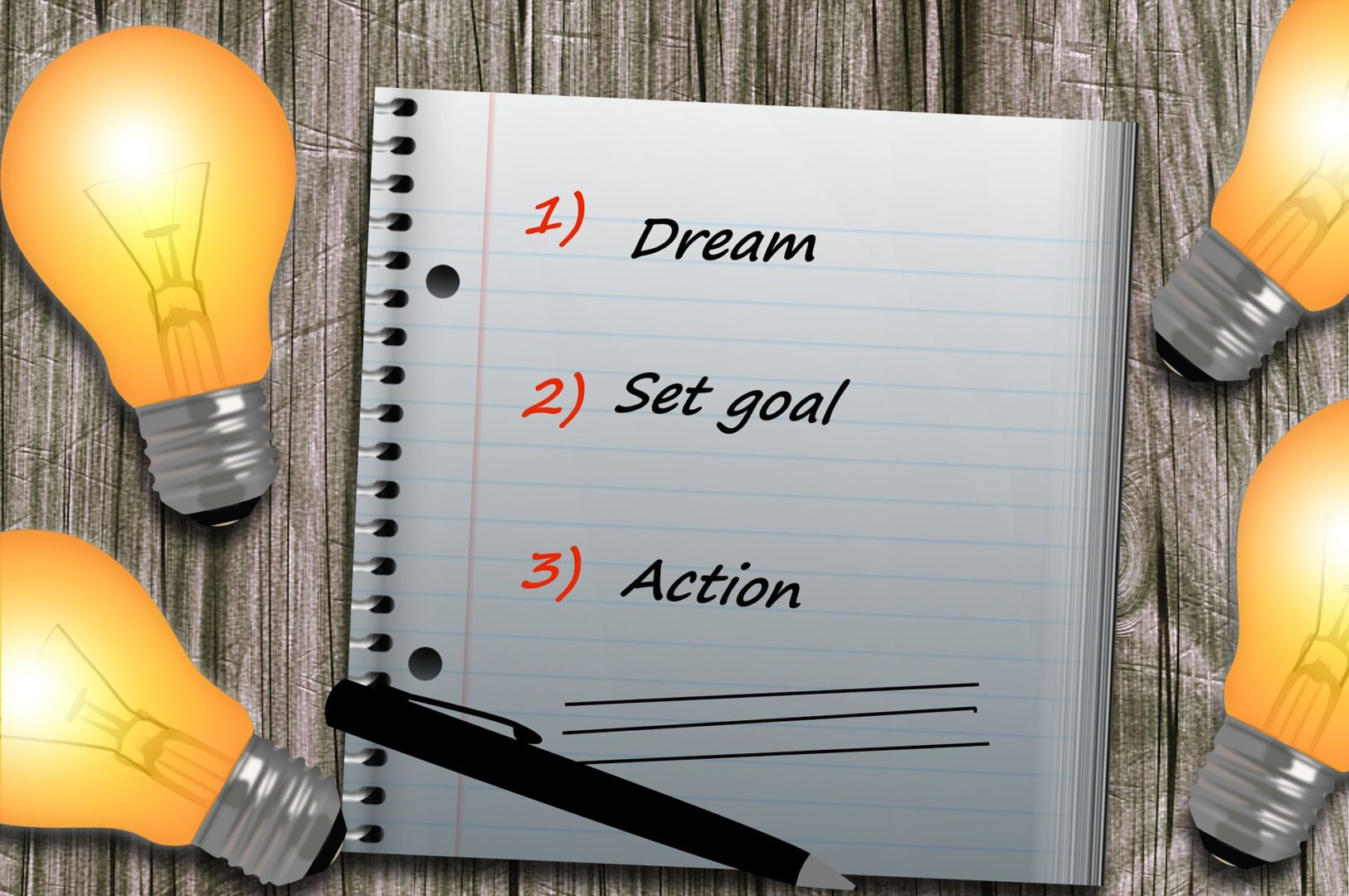 Notebook with 1. Dream, 2. Set goal, 3. Action