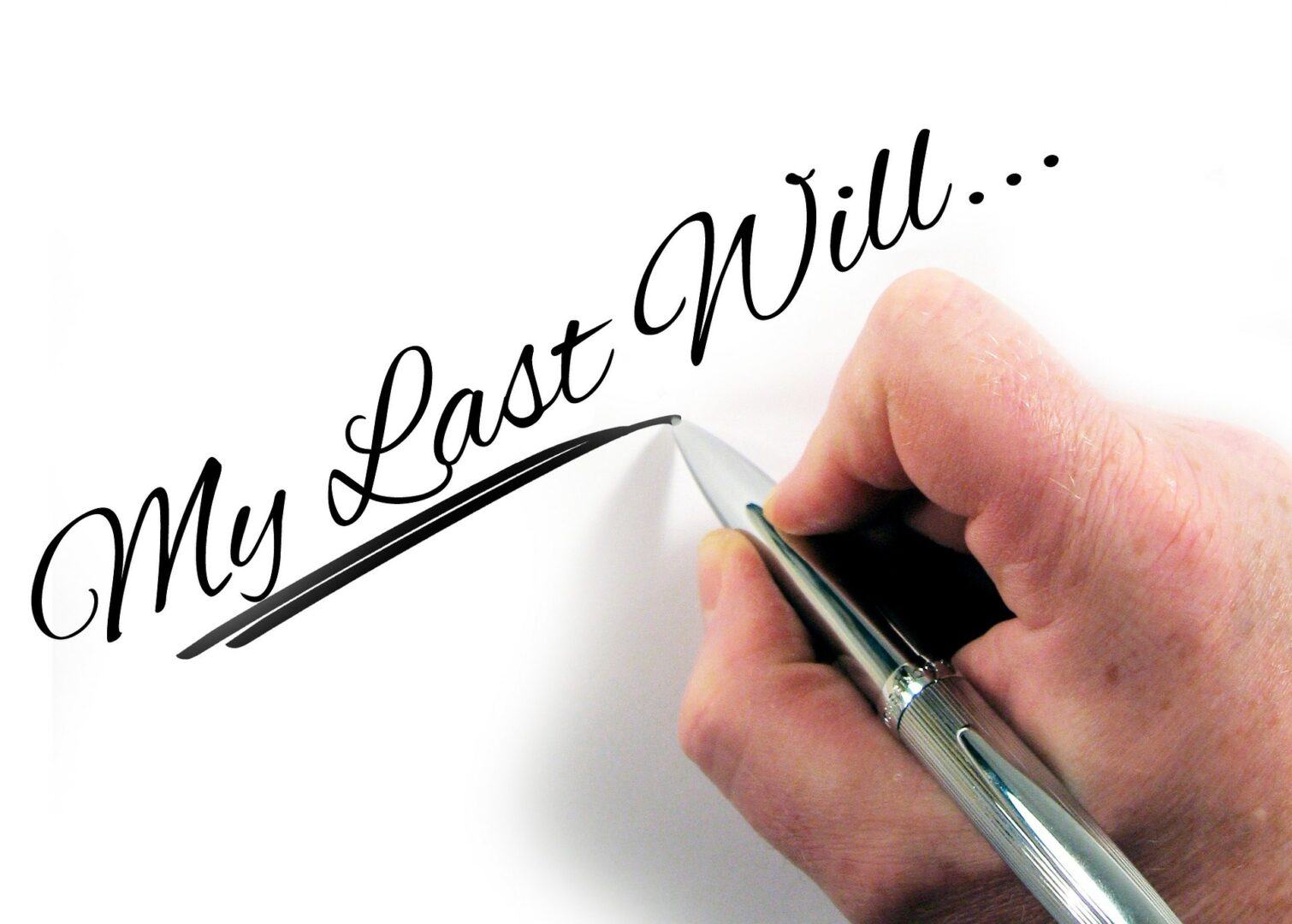 """Written """"my last will"""", with hand and pen"""