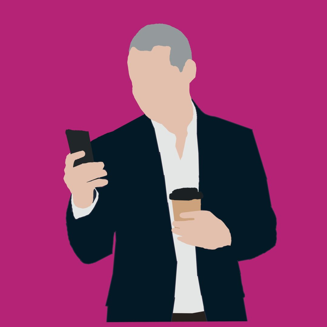 man carrying coffee looking at phone