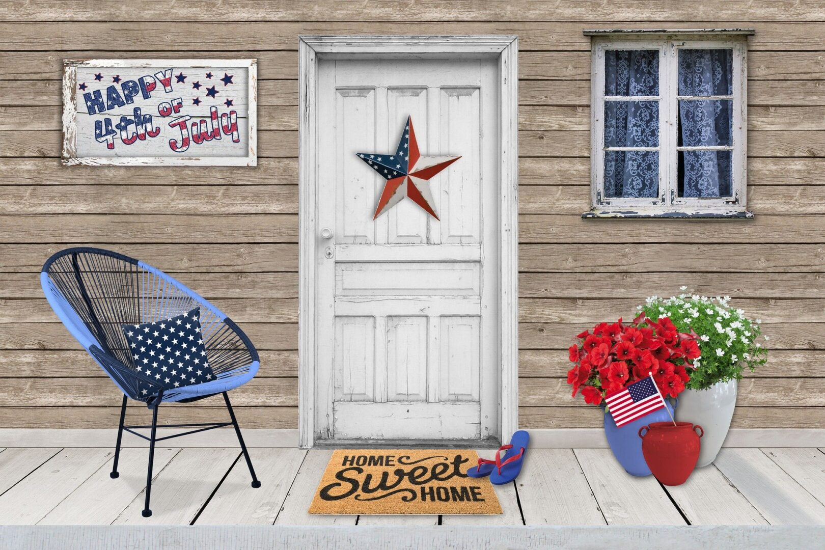 Doorfront with July 4th flags and signs