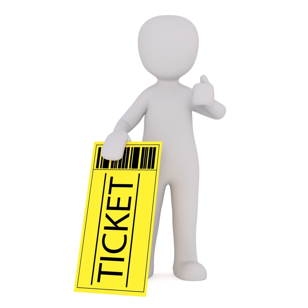 person with a ticket in hand