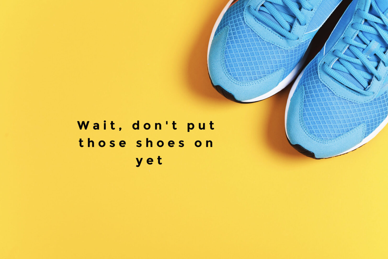 Blue Shoes with Yellow Background