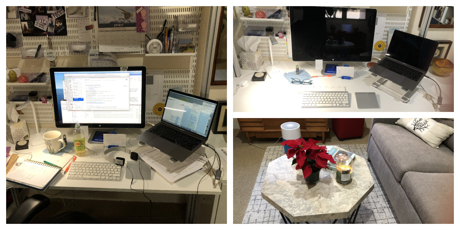 Cleaning office. One photo is messy office, one photo is cleaned office desk, one photo shows poinsettia on table