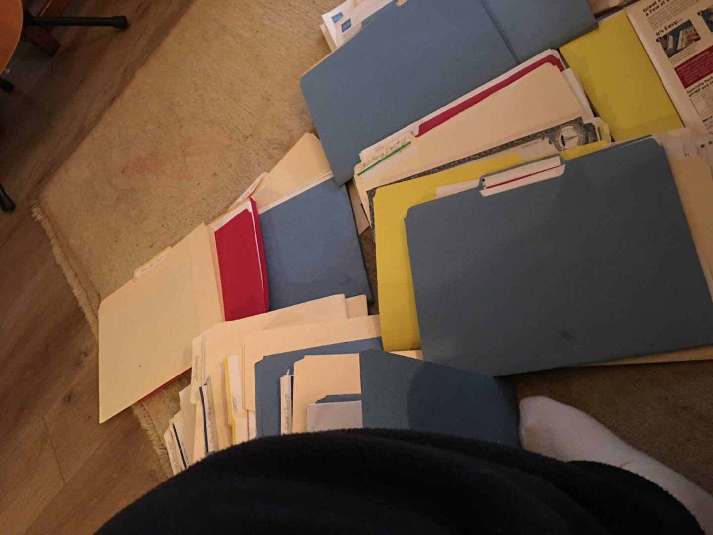 File folders on the ground