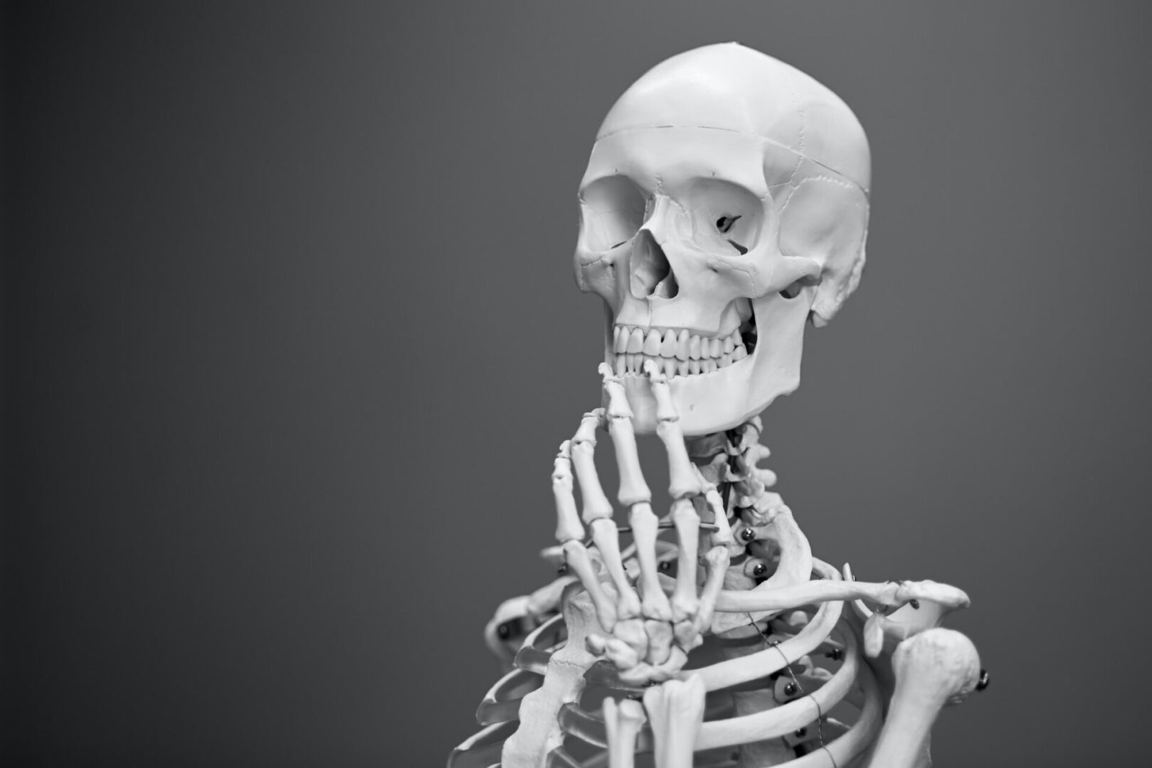 Skeleton with hand in a ponderous pose