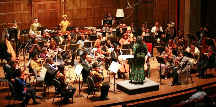 """Dr. Nkeiru Okoye conducting her piece """"Voices Shouting Out"""" with the Gateways Music Festival Orchestra"""