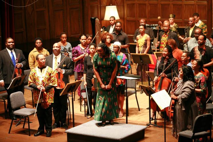 Nkeiru Okoye acknowledges the audience after conducting the Gateways Music Festival Orchestra
