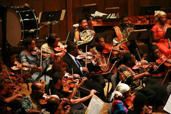 Strings and winds of the Gateways Music Festival Orchestra