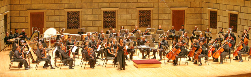 Kellly Hall-Tompkins, concertmaster, and the 2011 Gateways Music Festival Orchestra at Kodak Hall, Eastman Theatre.