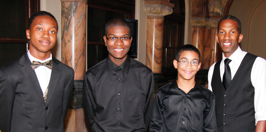 Youth Concert Showcase soloists Johnny Linton, Kalen Winfrey, Seth Blumer and Henri Muhammad.