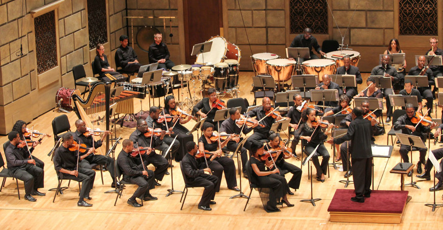 Orchestra performance in Kodak Hall at Eastman Theatre