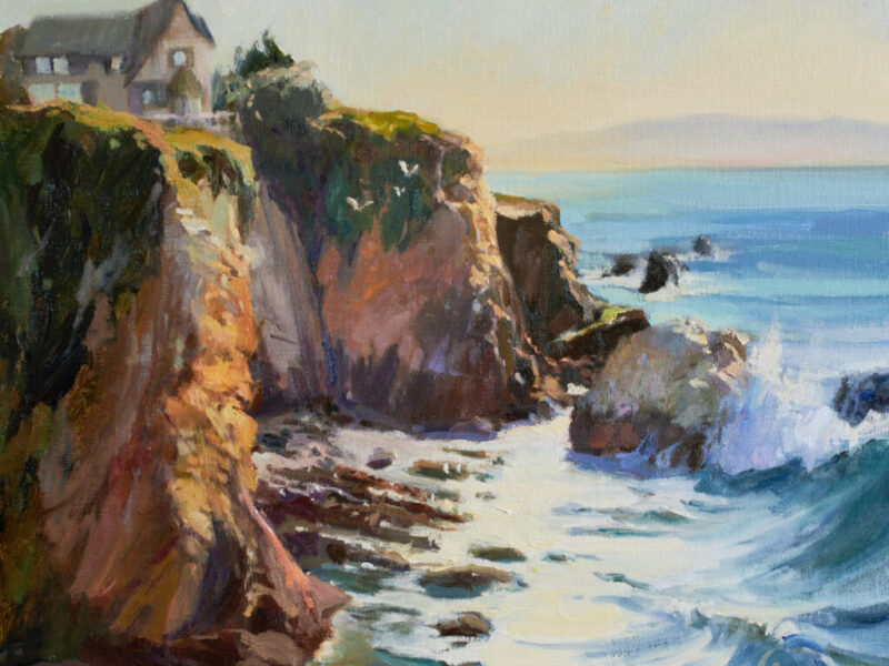 Birds Eye View Seascape Oil Painting of Pismo Beach, California 16x20