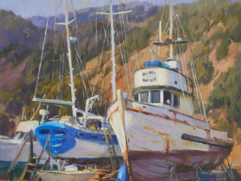 Plein air oil painting of Commercial fishing boat Billy Boy 16x20