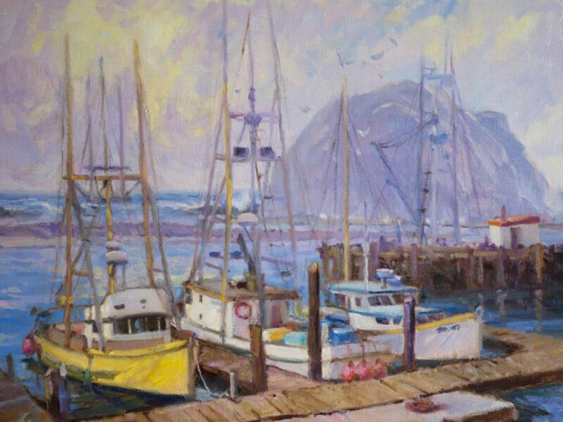 three boats docked in Morro Bay harbor painting