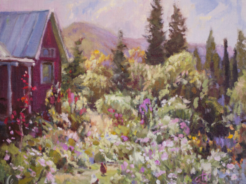 plein air oil painting of Mary's County Garden
