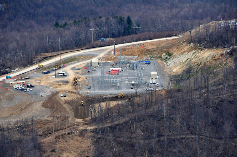 The Laurel Mountain substation during construction. (Photo credit:  John Terry)