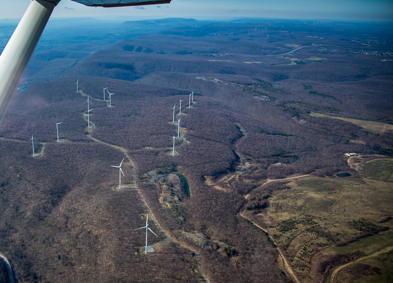 Aerial view of wind turbines on the Allegheny Front