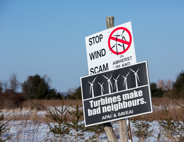 Yard signs are common in areas where wind projects are planned.  People know that turbines can be noisy, produce shadow flicker, and decrease property value.