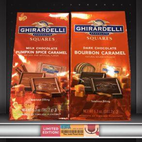 Dark Chocolate Bourbon Caramel & Milk Chocolate Pumpkin Spice Caramel Ghirardelli Squares
