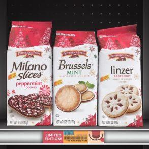 Pepperidge Farm Milano Slices Peppermint Cookies, Brussels Mint Cookies, and Linzer Raspberry Cookies