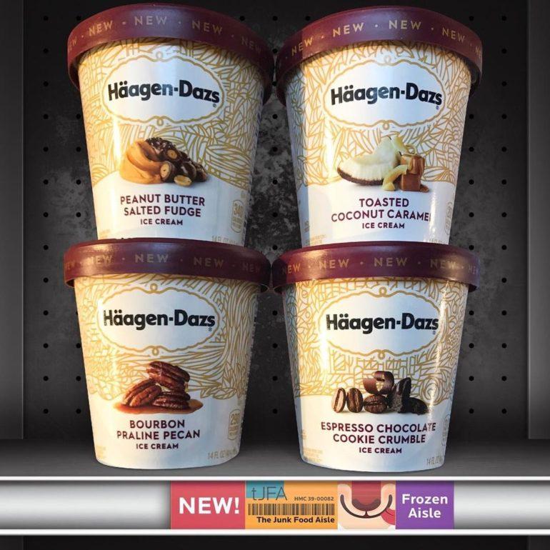 Häagen-Dazs Peanut Butter Salted Fudge, Toasted Coconut Caramel, Bourbon Praline Pecan & Espresso Chocolate Cookie Crumble