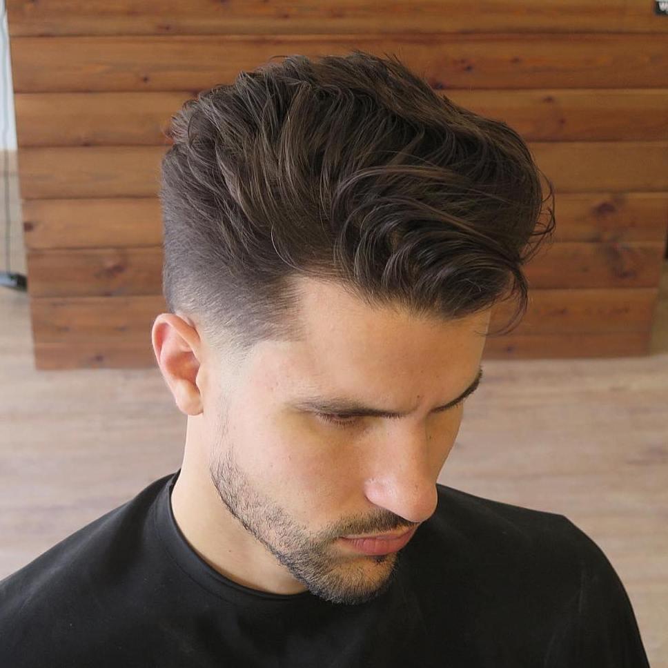 Men's pompadour haircut