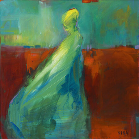 Painting of an abstracted ghost figure.