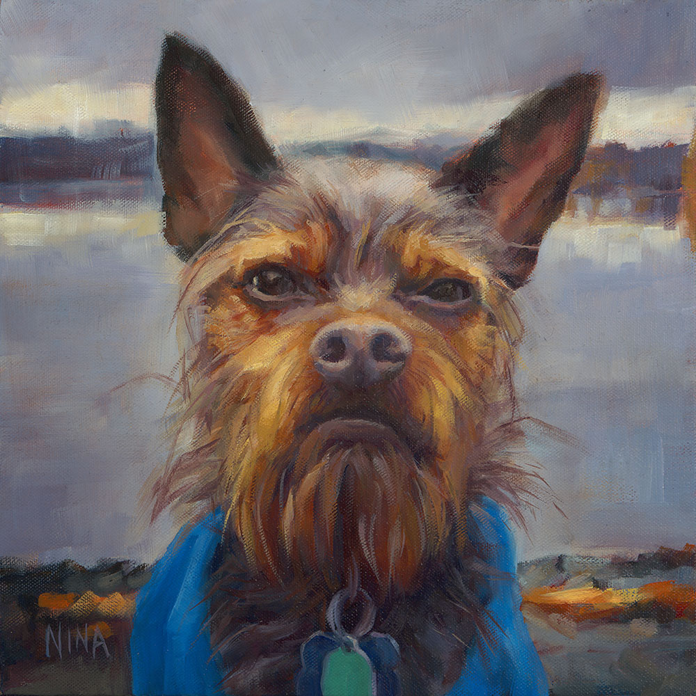 Painting of a grumpy dog.