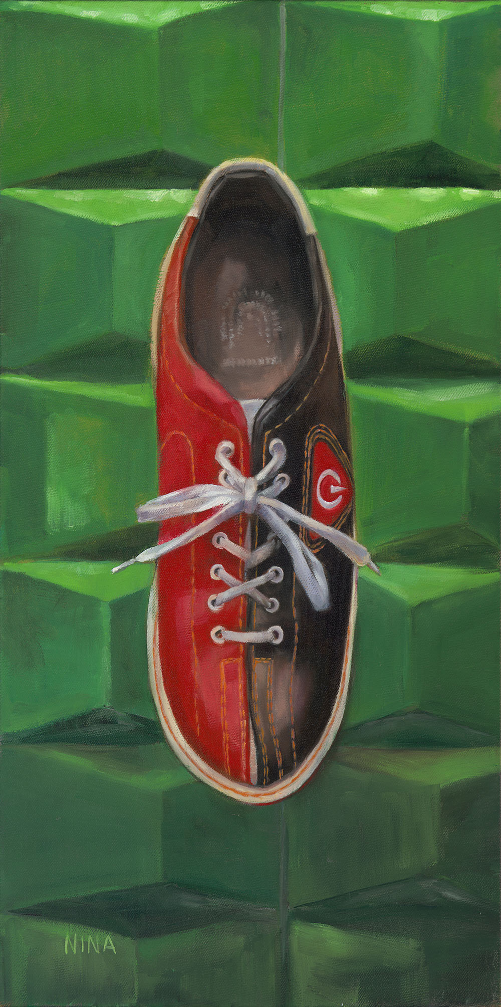 Painting of a big bowling shoe.