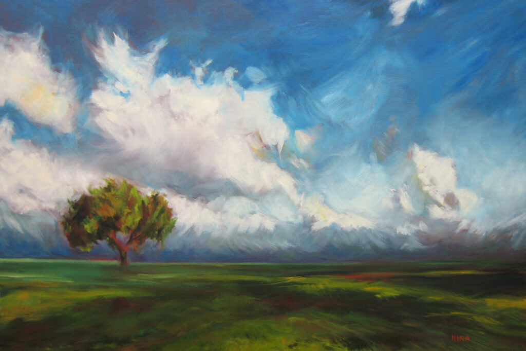 Painting of a field with tree and cloudy skies.