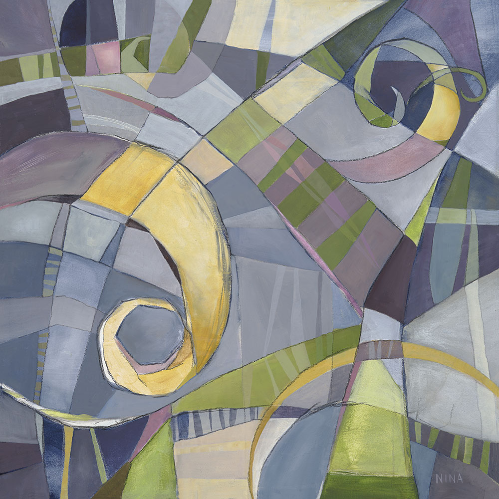 Painting of abstract shapes in blue.
