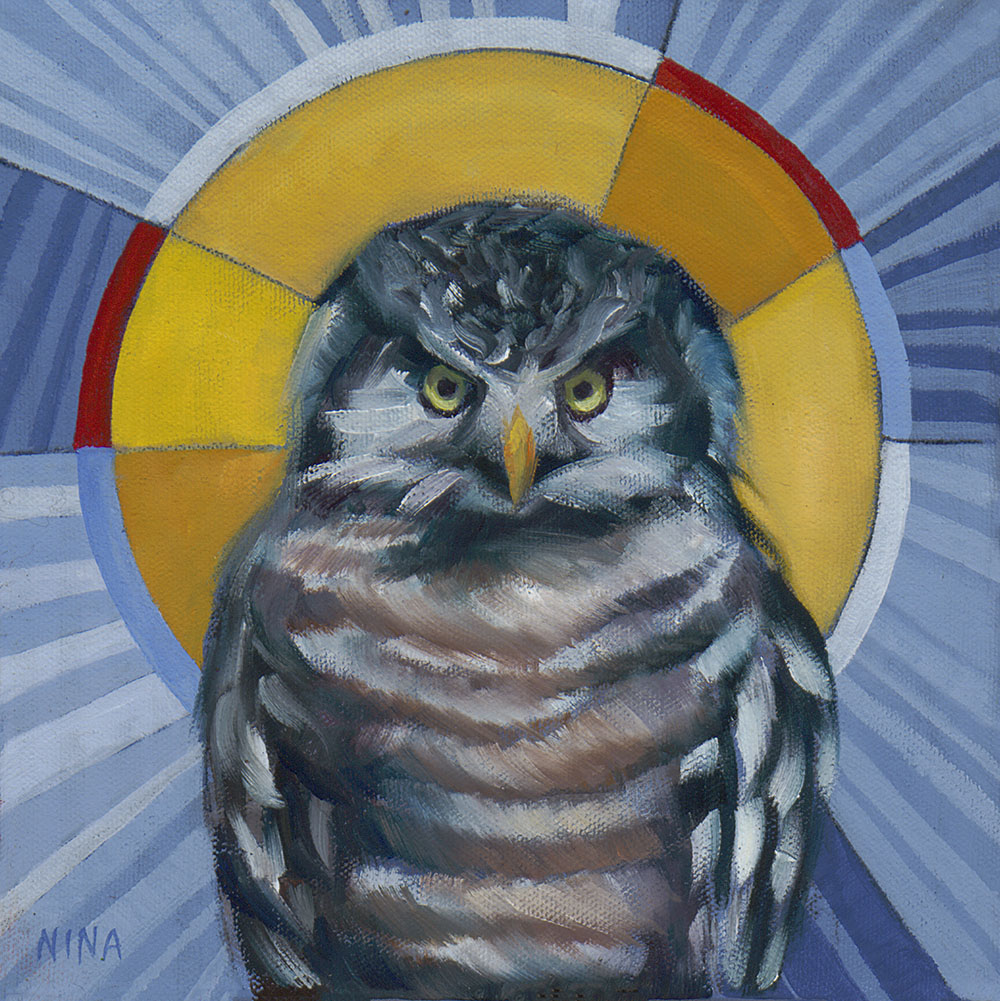 Painting of an owl with a halo.