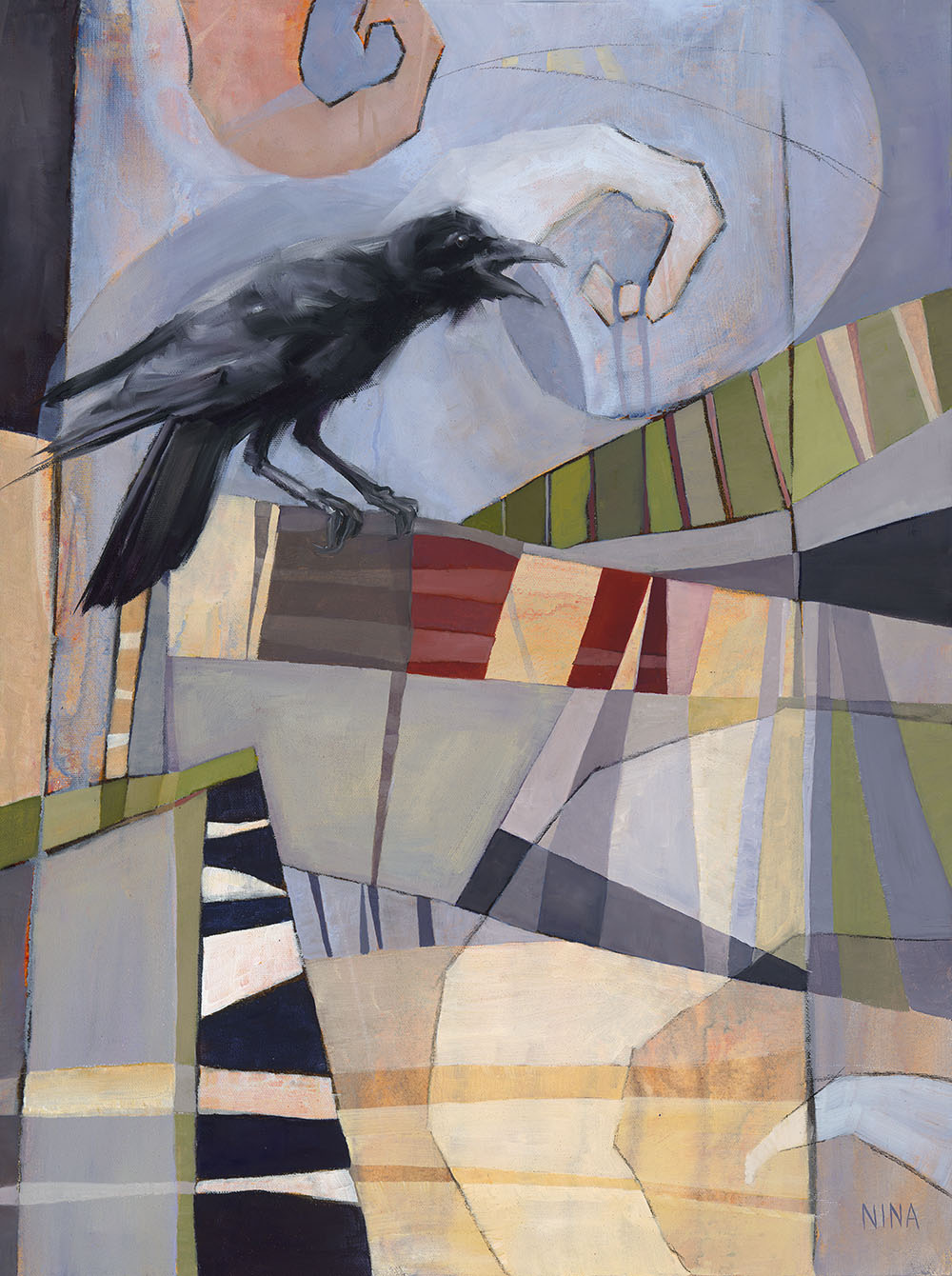 Painting of a crow on an abstracted geometric background.