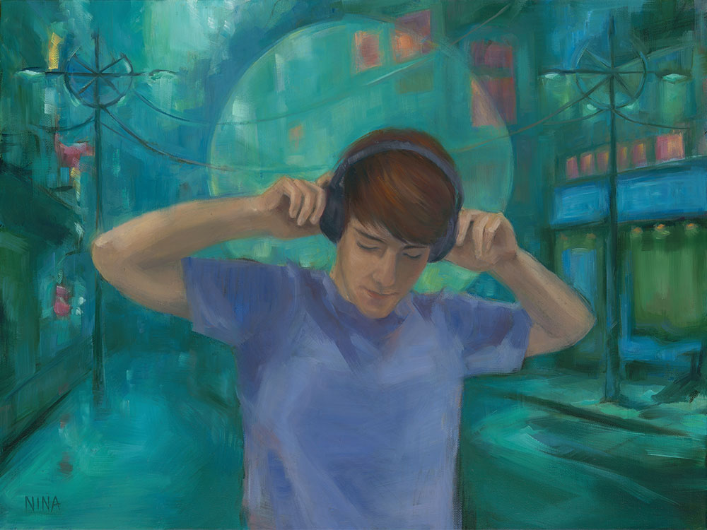 Painting of a young man listening to headphones in a city.