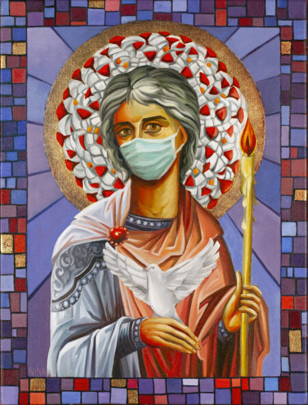 Painting of a Saint with a Corona Virus molecule in her halo