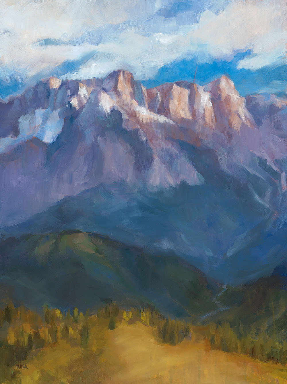 Painting of mountains and big sky.