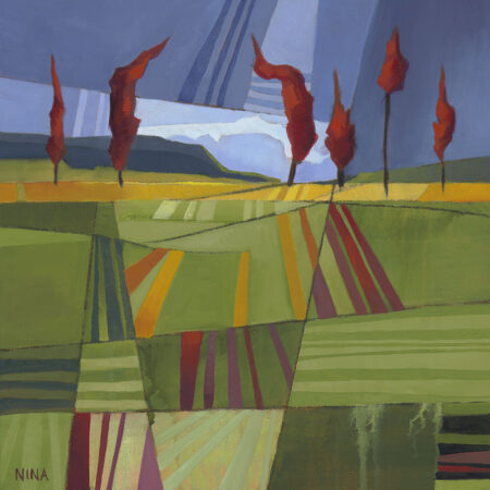Painting of green striped hillside with red trees.
