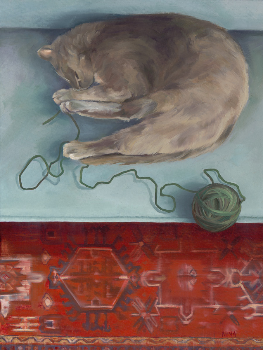 Painting of a large gray cat napping beside a ball of yarn.