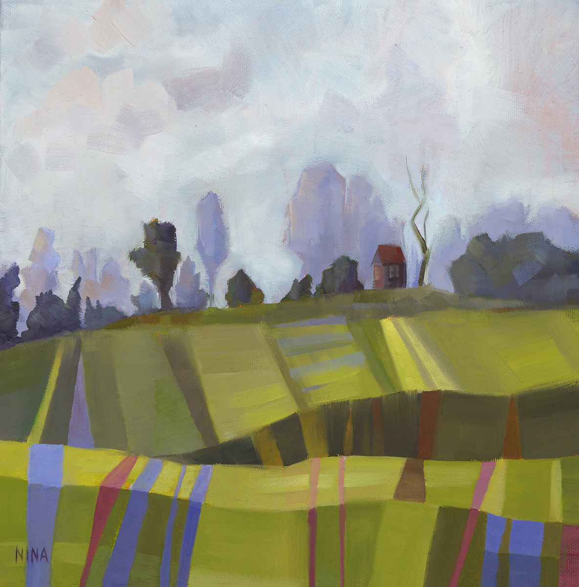 Painting of green hills and trees on the horizon.